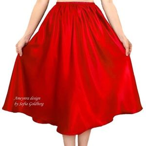 Red Satin Skirt Mid-Calf New All Sizes available
